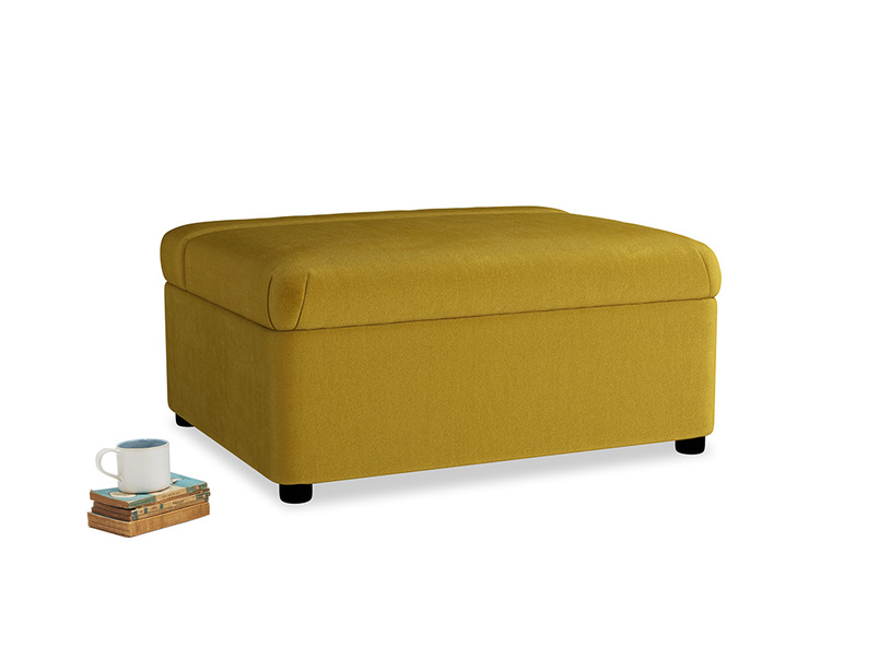 Single Bed in a Bun in Burnt yellow vintage velvet