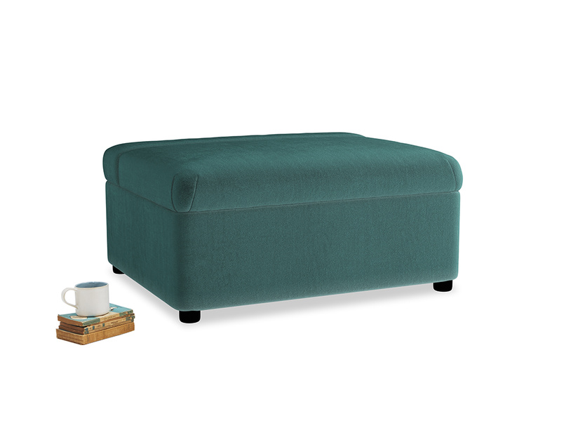 Single Bed in a Bun in Real Teal clever velvet