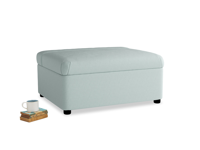 Single Bed in a Bun in Gull's Egg Brushed Cotton