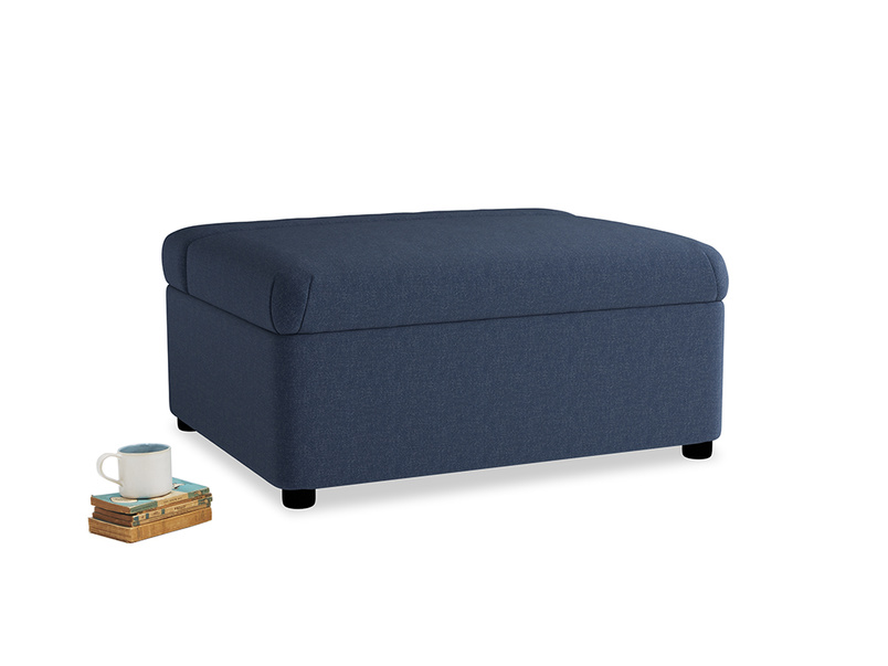 Single Bed in a Bun in Navy blue brushed cotton