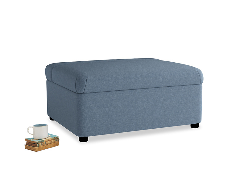 Single Bed in a Bun in Nordic blue brushed cotton