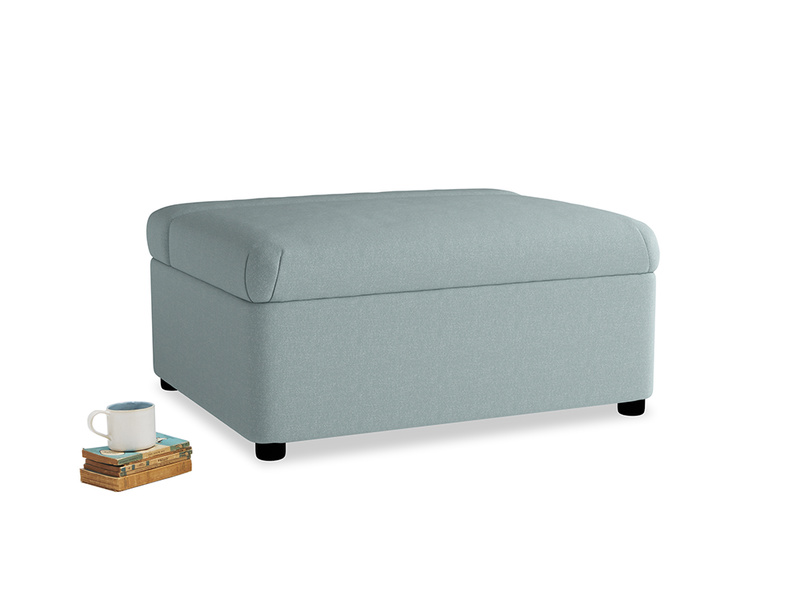 Single Bed in a Bun in Smoke blue brushed cotton