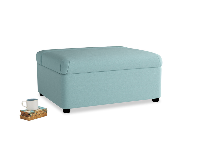 Single Bed in a Bun in Adriatic washed cotton linen