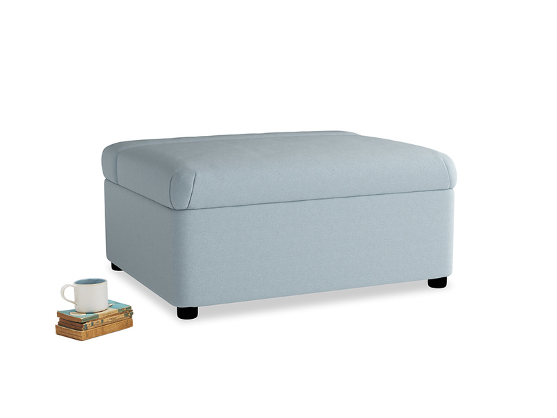 Single Bed in a Bun in Soothing blue washed cotton linen