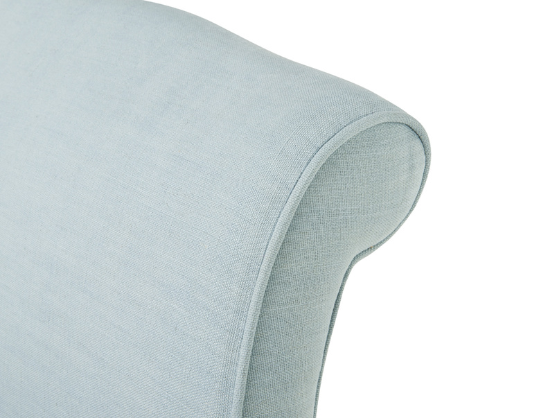 Lovely curved finish on Frenchie french style upholstered headboard
