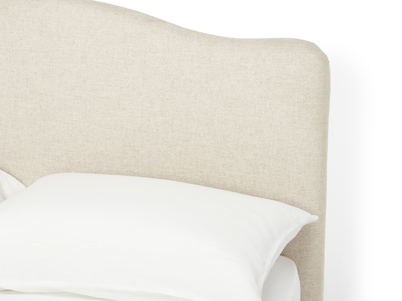 French style Luna upholstered fabric headboard and its elegant curves