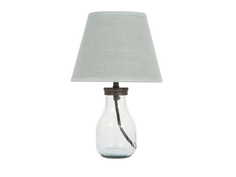 Mini Milk Bottle Table Lamp with Sea Salt shade