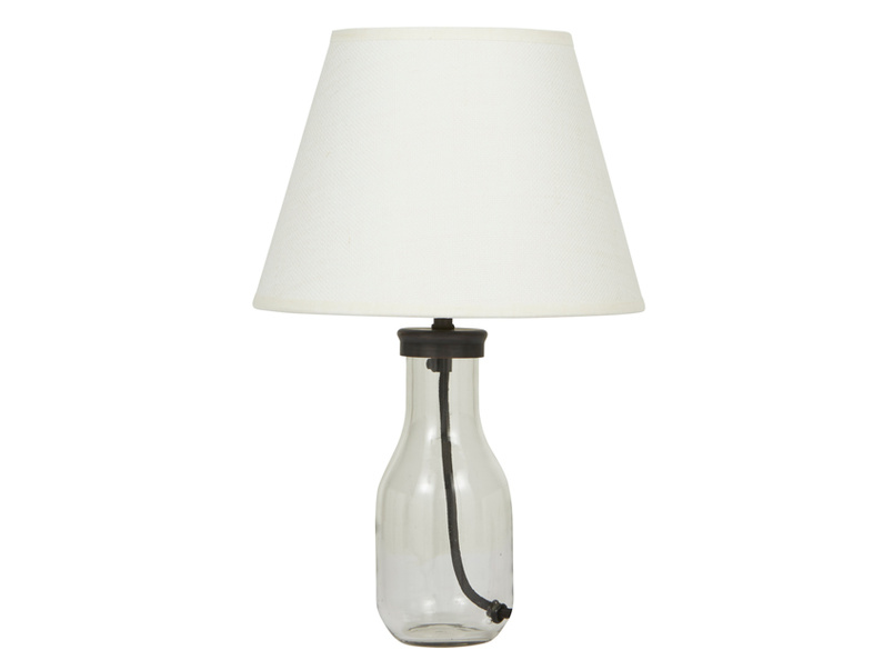 Milk Bottle Table Lamp with a Natural Hessian shade