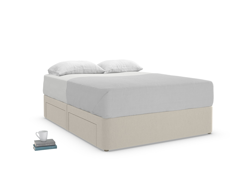 Modern Tight Space upholstered divan bed with storage drawers handmade in England
