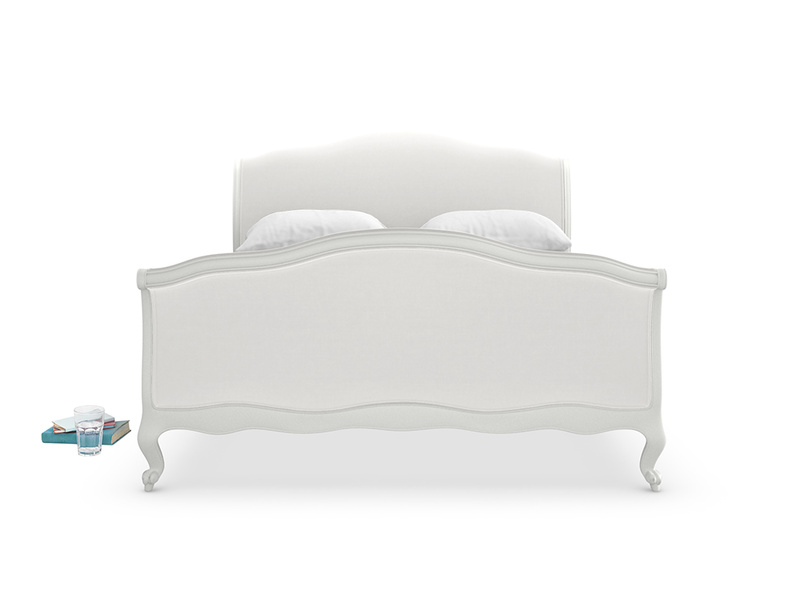 Handmade French antique Antoinette sleigh bed painted in scuffed grey