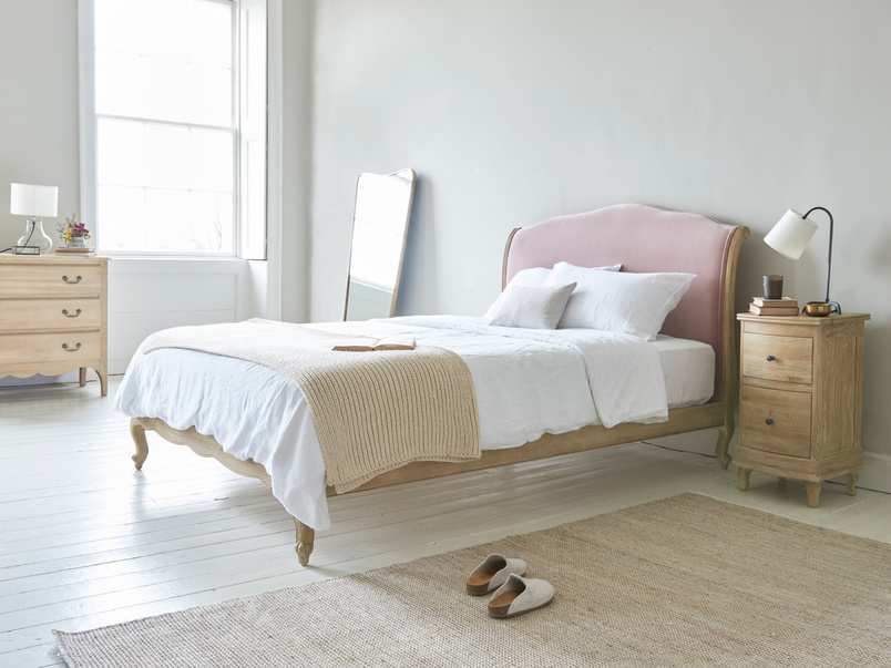 Coco French style upholstered and wooden bed