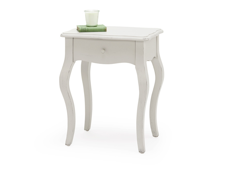 Mimi Scuffed Grey painted wooden bedside table, French antique style