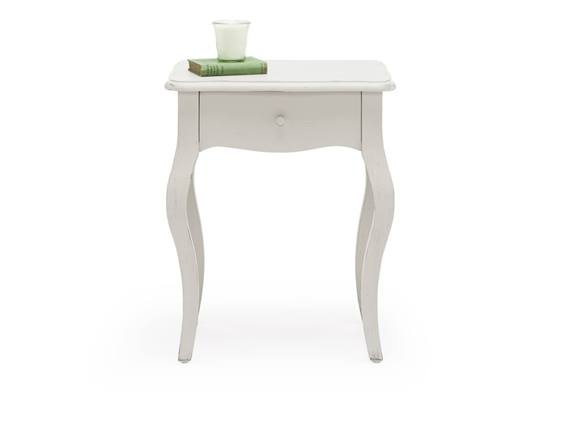 Classic French style curved leg Mimi Scuffed Grey bedside table with useful drawer