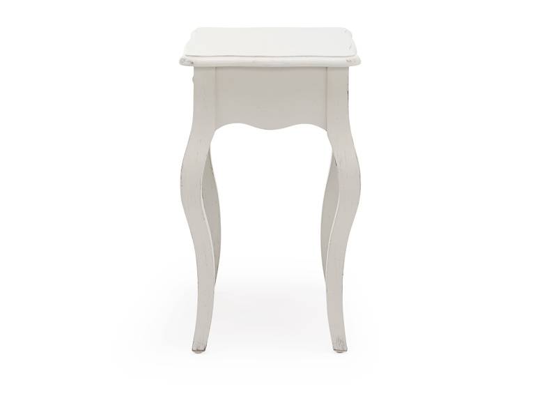 Mimi Scuffed Grey bedside table French style elegant curved legs and useful storage drawer