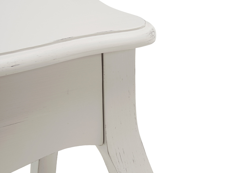 Elegant curves on the Mimi Scuffed Grey bedside table handmade from reclaimed wood