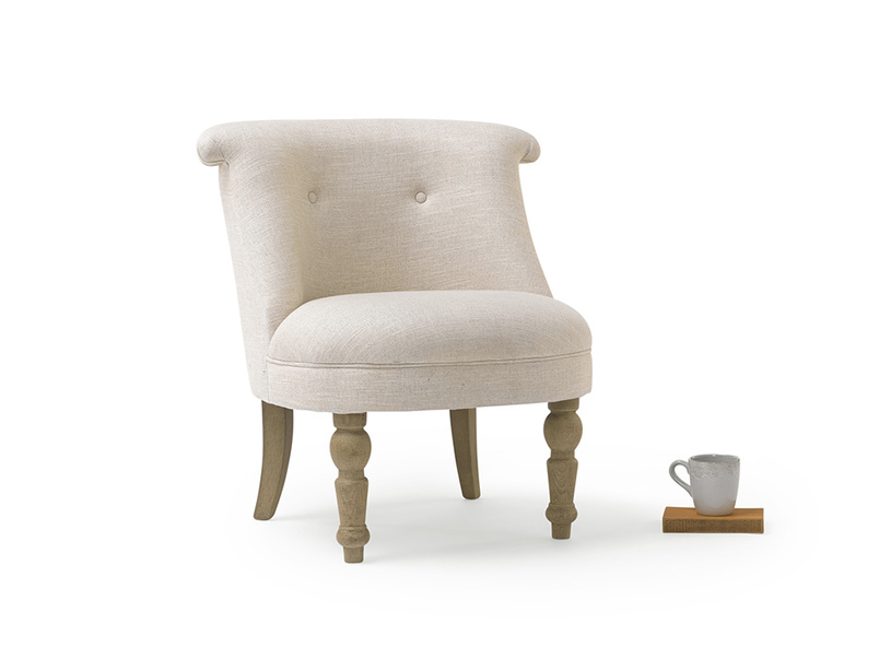 The Bovary occasional armchair is small and cute in the bedroom