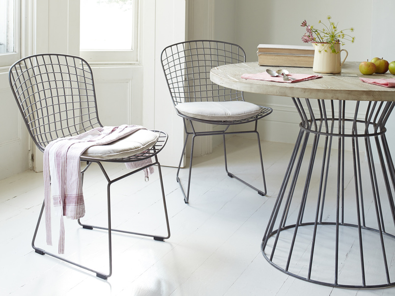 Industrial style Hamburger metal wire kitchen chairs