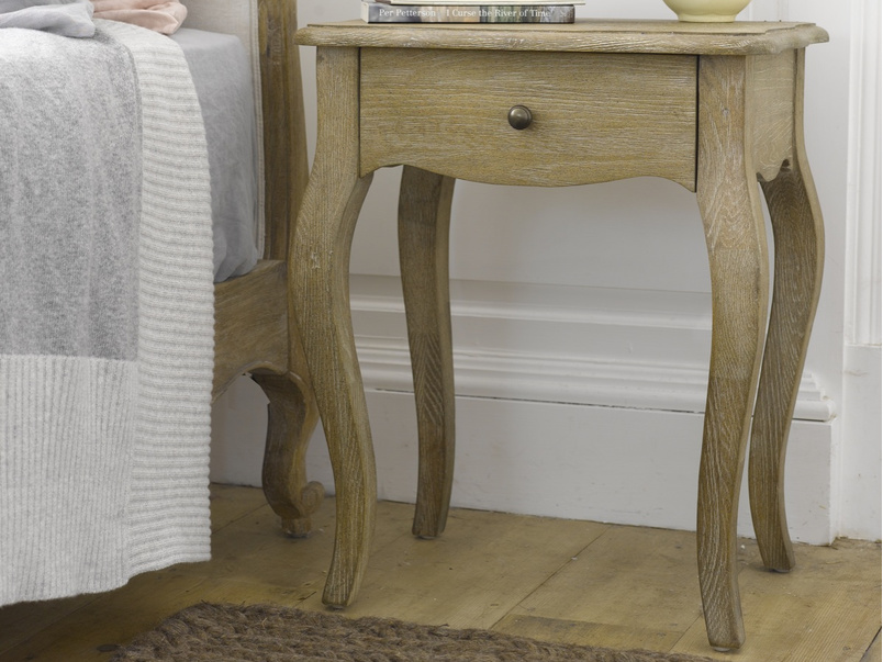 Weathered oak french style Mimi bedside table handmade from reclaimed wood