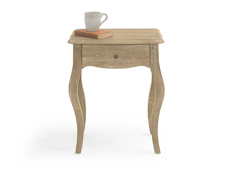 French style Mimi wooden bedside table with handy storage drawer
