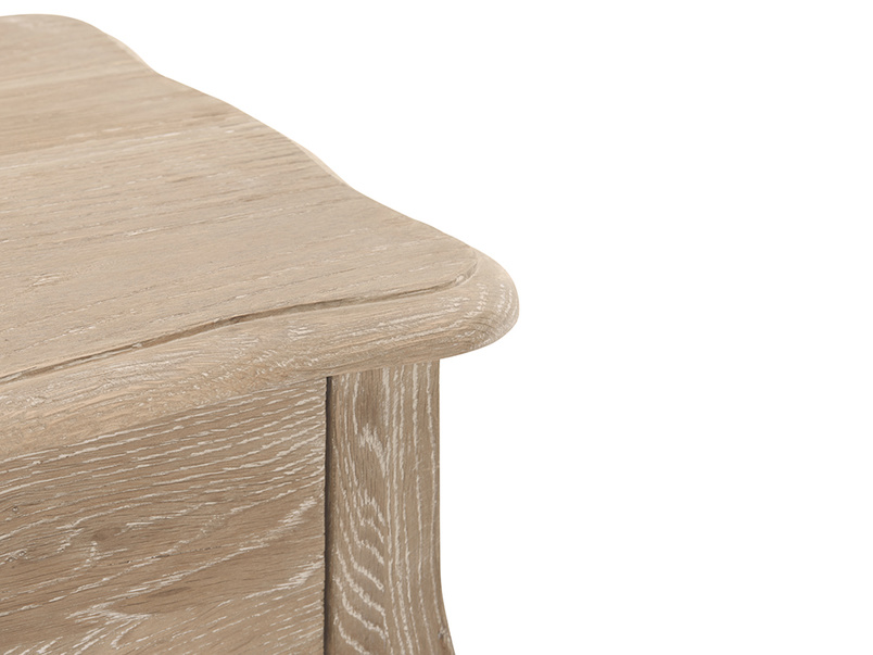 Elegant curved leg Mimi bedside table made of reclaimed wood