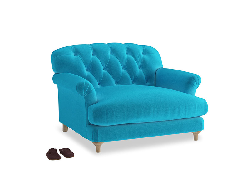Truffle Love seat in Azure plush velvet