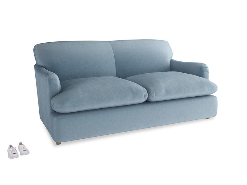 Medium Pudding Sofa Bed in Chalky blue vintage velvet