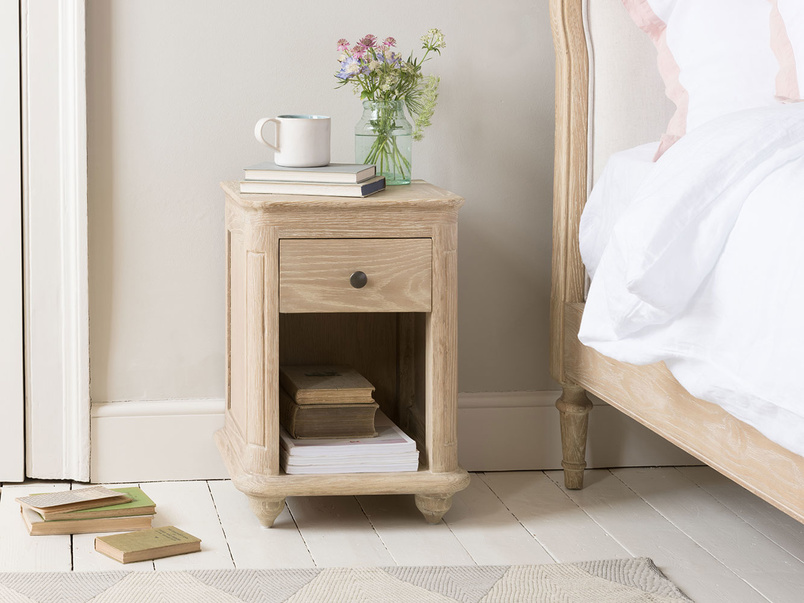 Amity bleached oak bedside table