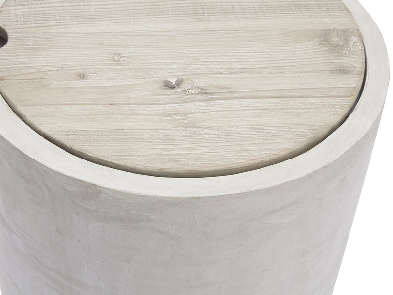 Hidey-Ho concrete wood round storage side table