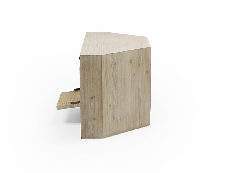 Corner Boy TV stand in reclaimed fir