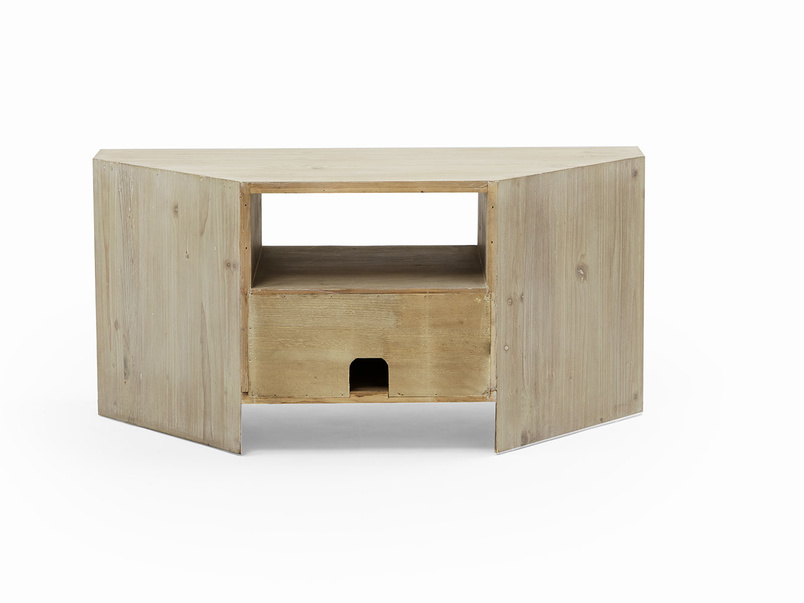 Corner Boy TV stand in beached timber