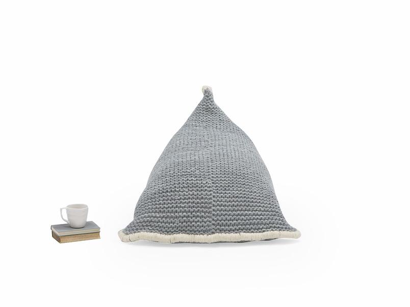 Chocs bean bag in Light Grey knitted wool