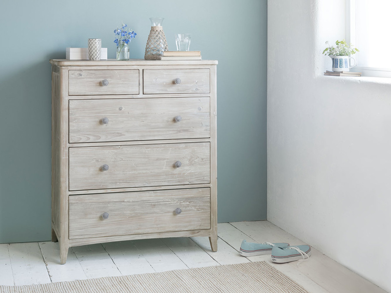 Driftwood wooden chest of drawers tongue and groove
