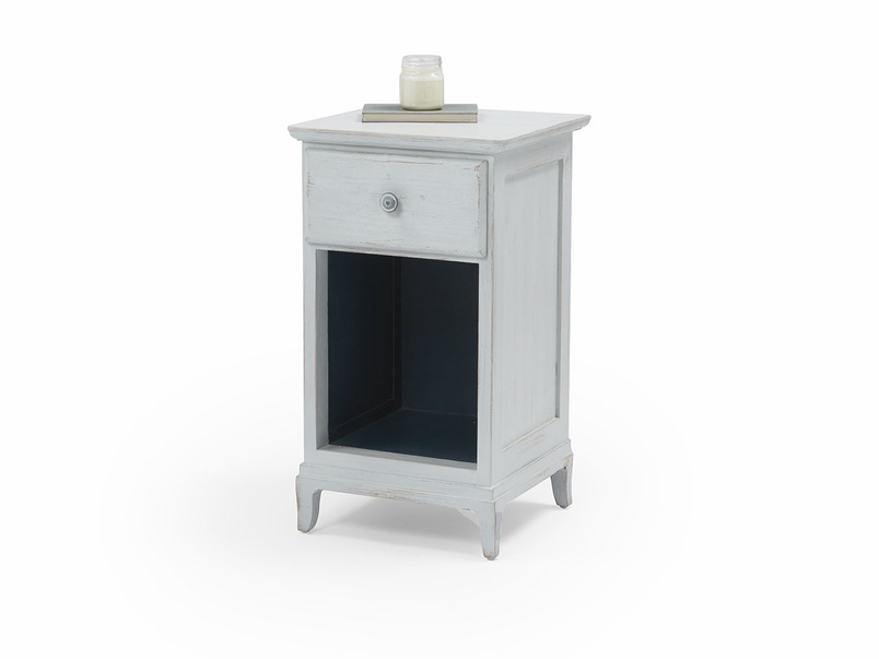 Footle bedside table inky blue interior
