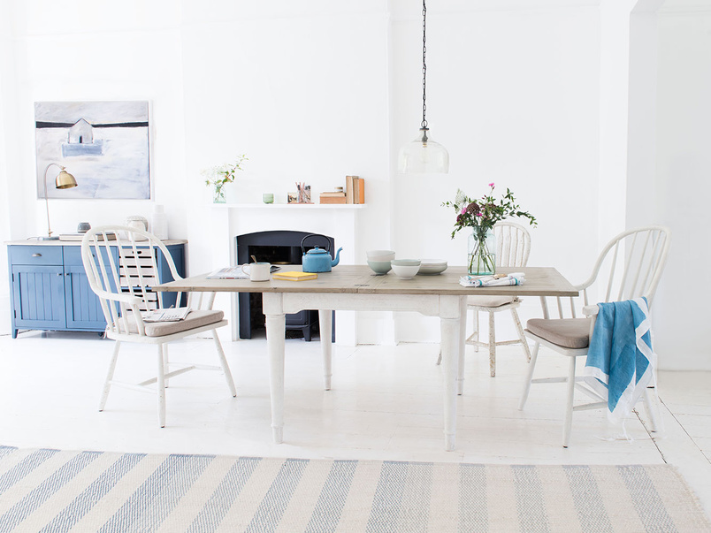 Toaster extending flip top dining table in vintage white