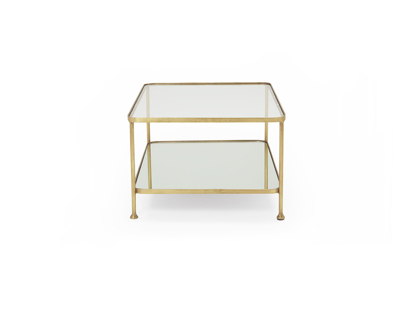 Wonder-Boy brass coffee table with mirror and glass shelf