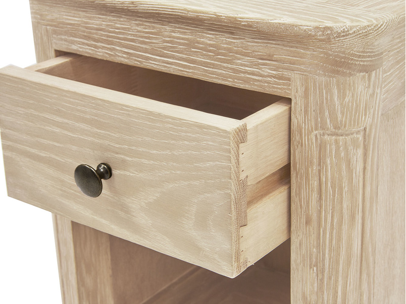 Amity bedside table in bleached oak
