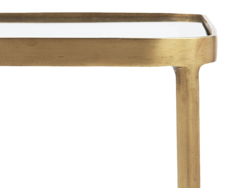 Wonder-Brass brass and glass side table