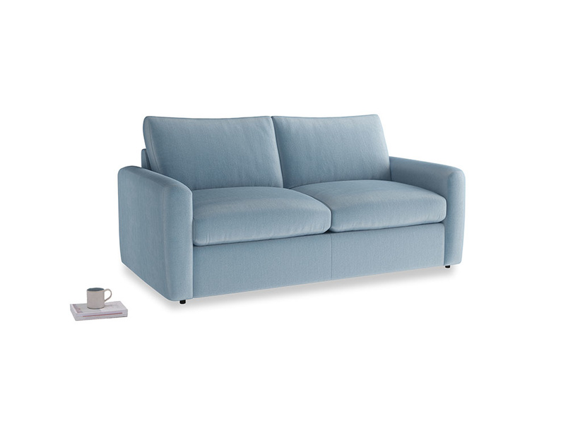 Medium Chatnap Sofa Bed in Chalky blue vintage velvet and both Arms