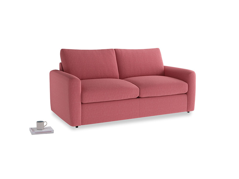 Chatnap Sofa Bed in Raspberry brushed cotton with both arms