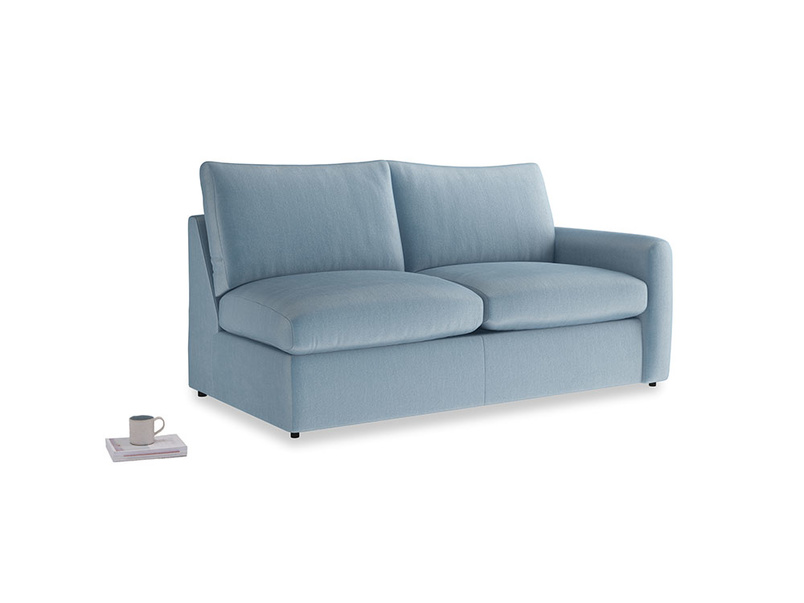 Chatnap Sofa Bed in Chalky blue vintage velvet with a right arm