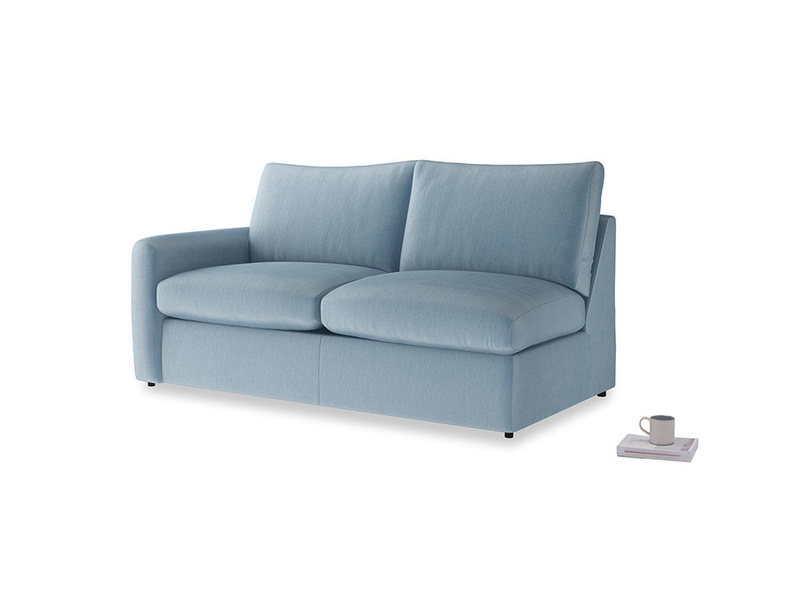 Chatnap Sofa Bed in Chalky blue vintage velvet with a left arm