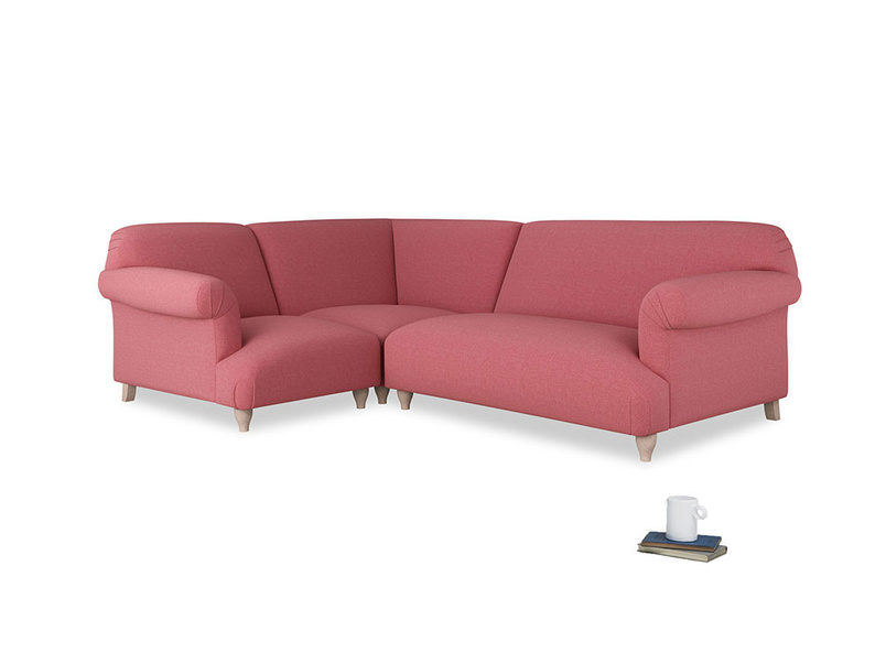 Large left hand Corner Soufflé Modular Corner Sofa in Raspberry brushed cotton and both Arms