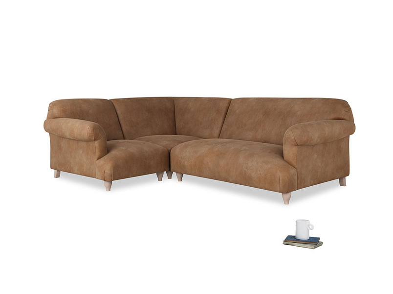Large Left Hand Soufflé Modular Corner Sofa in Walnut Beaten Leather with arms