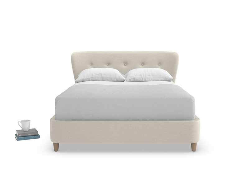 Smoke retro style but modern luxury upholstered bed