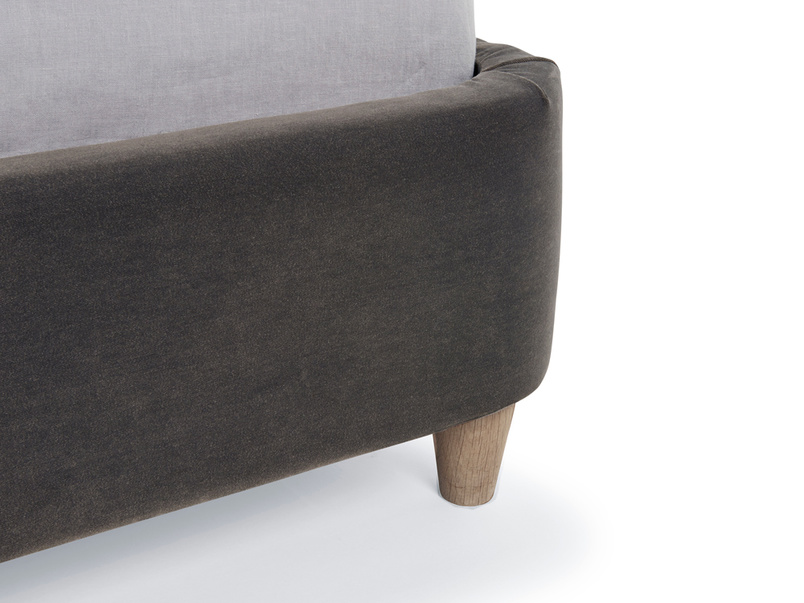 Contemporary style retro Smoke bed has solid oak legs with weathered finish
