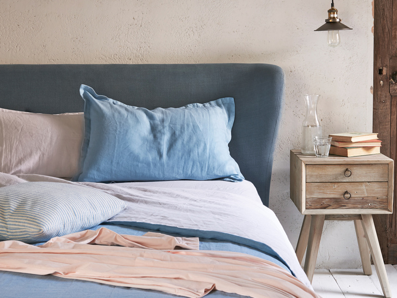 Smoke vintage inspired contemporary upholstered bed