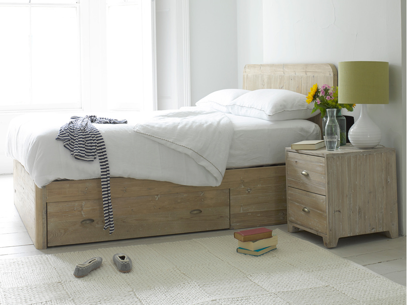 Woody storage bed handmade in solid beached timber with two drawers