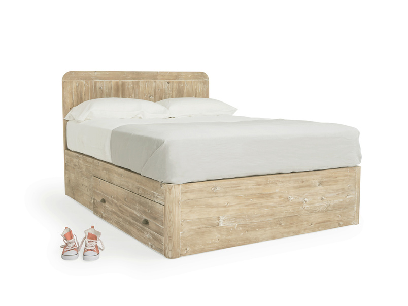 Woody storage bed with solid base and large wooden drawers on each side