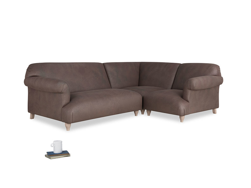 Large Right Hand Soufflé Modular Corner Sofa in Dark Chocolate Beaten Leather with arms