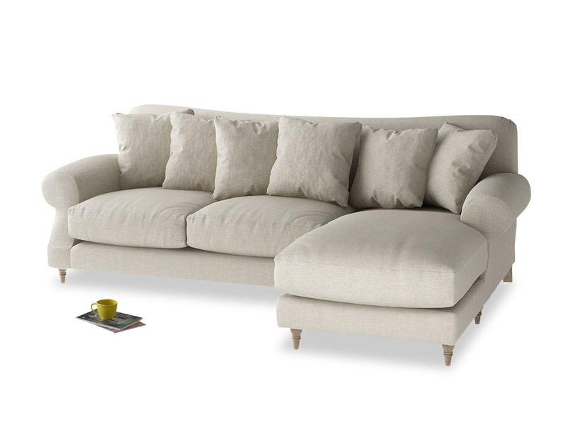 Crumpet chaise sofa is a deep comfy sofa with a classic shape handmade in Britain